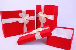 Набор подарочных коробок-( 3 шт) Прямоугольник Бархат с бантом Красный