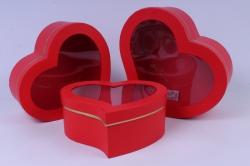 Набор подарочных коробок (3 шт) - Сердце красное капелькой с окном  W9725 (С)