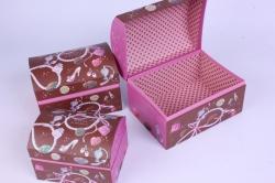 Набор подарочных коробок-( 3 шт) Сундучок Бусы 20*14*13