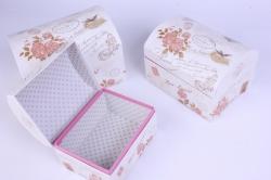 Набор подарочных коробок-( 3 шт) Сундучок Марки и розы 20*14*13