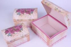 Набор подарочных коробок-( 3 шт) Сундучок Розы с блёстками 20*14*13