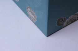 набор подарочных коробок (3 шт) - сундук в цветочек голубой   w9554  (с)