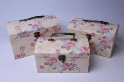 Набор подарочных коробок (3 шт) - Сундук в цветочек шампань  W9553  (С)