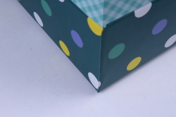"""набор подарочных коробок 3шт. """"прямоуг. клетка горох морская волна""""  d46"""