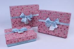 Набор подарочных коробок 3шт.  Прямоугольник в мелкую розочку розовая крышка