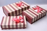 """Набор подарочных коробок 3шт. Разноразмерные. """"Прямоугольник с магнитами"""" цвета в ассортименте."""