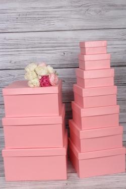 Набор подарочных коробок из 10 шт -  № 71 Квадрат Перл. Розовый  28,2см*28,2см*15см  Пин71ПРо
