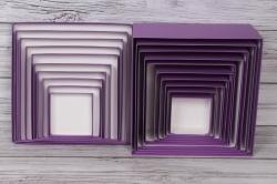 Набор подарочных коробок из 10 шт -  № 71 Квадрат Сиреневый 28,2см*28,2см*15см  Пин71СКТ