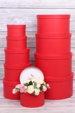 Набор подарочных коробок из 10 шт - Цилиндр однотонный красный d=35/ h=17см К235