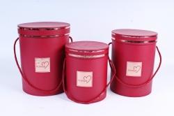 Набор подарочных коробок из 3 шт - Цилиндр с окантовкой бордо  В47