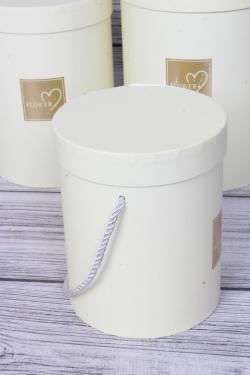 Набор подарочных коробок из 3 шт - Цилиндр с окантовкой лимон d=18, h=24см В47