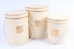 Набор подарочных коробок из 3 шт - Цилиндр с окантовкой шампань   В47