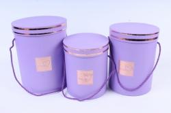 Набор подарочных коробок из 3 шт - Цилиндр с окантовкой сирень   В47