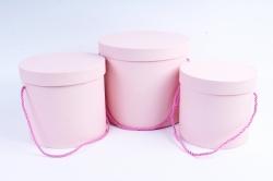 Набор подарочных коробок из 3 шт - Цилиндр с ручками розовый