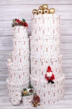 Набор подарочных коробок из 10 шт - Круг Ёлки на белом D=41 см,Н=24.5 см