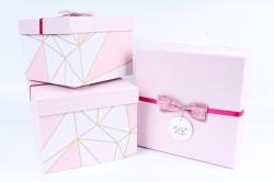 Набор подарочных коробок из 3 шт - Куб абстракция розовый  Р162