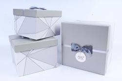 Набор подарочных коробок из 3 шт - Куб абстракция серый  Р162