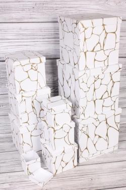 """Набор подарочных коробок из 10 шт - КУБ """"Белый Мрамор"""" 26,5*26,5см  SY601-1873"""