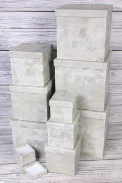 """Набор подарочных коробок из 10 шт - КУБ """"Бетон"""" 26,5*26,5см  SY601-1824"""