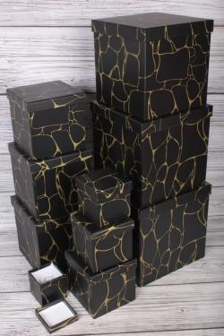 """Набор подарочных коробок из 10 шт - КУБ """"Чёрный Мрамор"""" 26,5*26,5см   SY601-1874"""