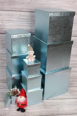 """Набор подарочных коробок из 10 шт - КУБ """"Голубой Металл"""" 26,5*26,5см  SY601-A33G011"""