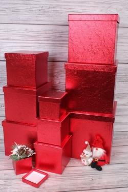 """Набор подарочных коробок из 10 шт - КУБ """"Красный Металл"""" 26,5*26,5см  SY601-A33G014"""