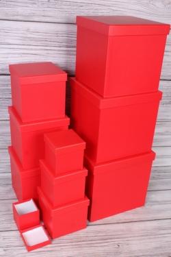 """Набор подарочных коробок из 10 шт - КУБ """"Красный"""" 26,5*26,5см  SY601-074S"""