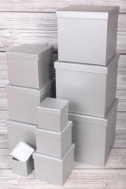 """Набор подарочных коробок из 10 шт - КУБ """"Серебро"""" 26,5*26,5см   SY601-447"""