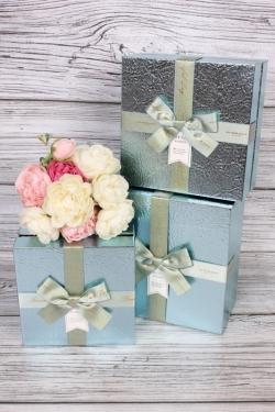 Набор подарочных коробок из 3 шт - Квадрат жатый металл голубой 19*19*9см В756