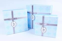 Набор подарочных коробок из 3 шт - Квадрат крышка круги голубой Р163