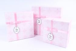 Набор подарочных коробок из 3 шт - Квадрат крышка круги розовый  Р163