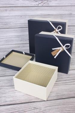 Набор подарочных коробок из 3 шт - Квадрат под кожу черная крышка 21*21*10см  К470