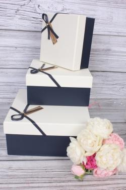 Набор подарочных коробок из 3 шт - Квадрат под кожу шампань крышка 21*21*10см  К470