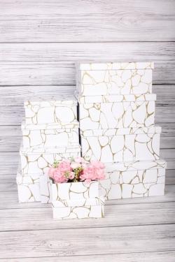 """Набор подарочных коробок из 10 шт - Прямоугольник """"Белый Мрамор"""" 37*29*16см   SY605-1873"""