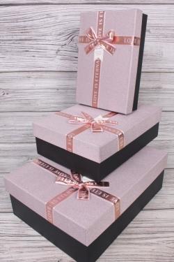 Набор подарочных коробок из 3 шт - Прямоугольник блестки лиловый 33*24*10см  В754