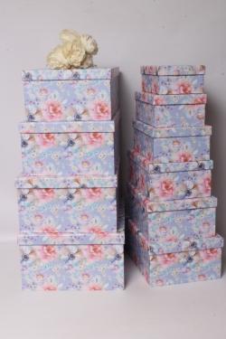 Набор подарочных коробок из 10 шт - Прямоугольник Цветы на сиреневом 37*29*16см  К543
