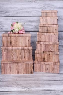 """Набор подарочных коробок из 10 шт - Прямоугольник """"Дерево натуральное"""" 37*29*16 SY605-1820"""