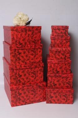 Набор подарочных коробок из 10 шт - Прямоугольник Миллион роз 37*29*16см  К539