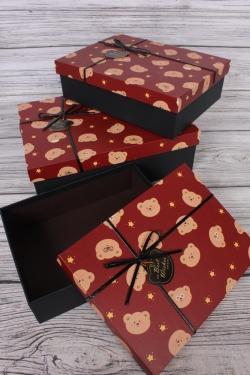 Набор подарочных коробок из 3 шт - Прямоугольник Мишки бордо 29*29*9см  В752
