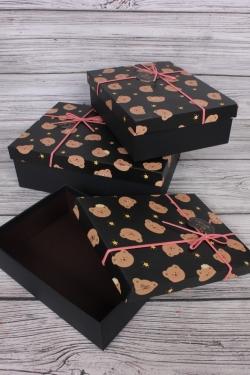 Набор подарочных коробок из 3 шт - Прямоугольник Мишки черный 29*29*9см  В752