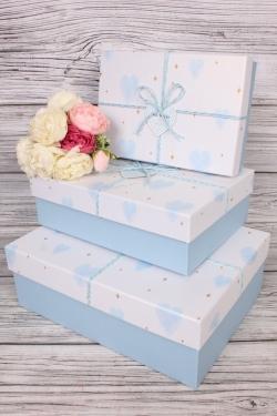 Набор подарочных коробок из 3 шт - Прямоугольник Сердца перламутр голубой 33*24*11см  В756