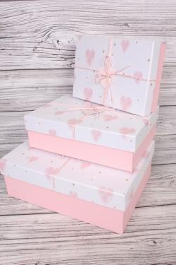 Набор подарочных коробок из 3 шт - Прямоугольник Сердца перламутр розовый 33*24*11см  В756