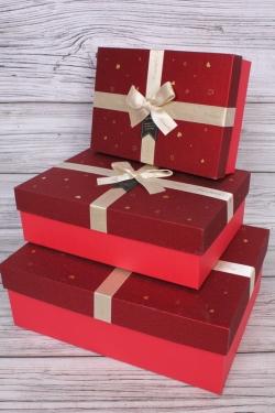 Набор подарочных коробок из 3 шт - Прямоугольник Сердечки 33*24*11см  В757