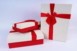 Набор подарочных коробок из 3 шт- Прямоугольник белая крышка