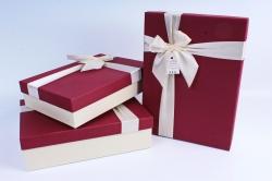Набор подарочных коробок из 3 шт- Прямоугольник бордо крышка/белый бант