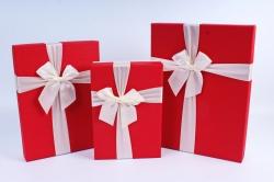 Набор подарочных коробок из 3 шт- Прямоугольник красная крышка