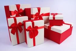 Набор подарочных коробок из 6 шт- Прямоугольник с бантом белая крышка