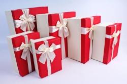 Набор подарочных коробок из 6 шт- Прямоугольник с бантом красная крышка