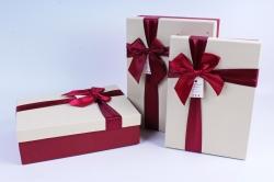 Набор подарочных коробок из 3 шт- Прямоугольник шампань крышка/бордо бант