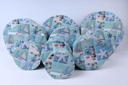 Набор подарочных коробок  из 10 шт - КРУГ Морская Романтика SY813-1241